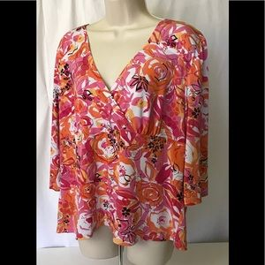 Avenue Stretch Pink/0range Abstract Blouse (18-20)